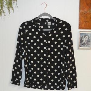 Polka Dot Button-Down Top
